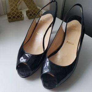 Christian Louboutin Heels Black Patent Peep Toe
